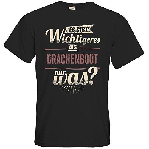 getshirts - RAHMENLOS® Geschenke - T-Shirt - Es gibt wichtigeres als Drachenboot - Sport red - black L