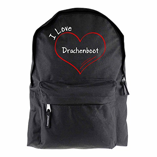 Rucksack Modern I Love Drachenboot schwarz