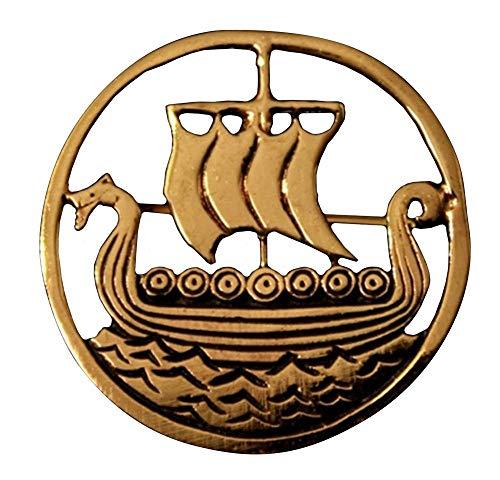 Wikinger Brosche mit Drachenboot aus Bronze Gewandschließe Mittelalter