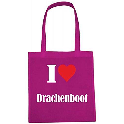 """Tasche """"I Love Drachenboot"""" Größe """"38x42"""" Farbe """"Pink"""" Druck """"Weiss"""""""