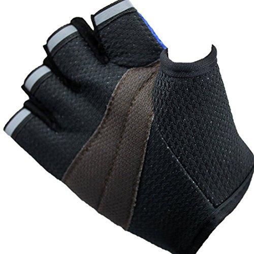 Handschuhe Radfahren, E-TOP Nylon Fingerlose Atmungsaktive Fahrradhandschuhe Reit Kletter Boot Angeln Fitnessstudio Training Handschuhe Fäustling Durchschnittlich Größe für Herren Damen oder Kinder(Erwachsenen-Blau) -